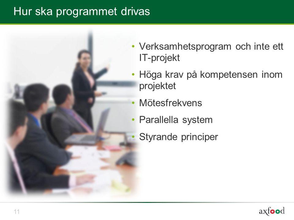 Hur ska programmet drivas •Verksamhetsprogram och inte ett IT-projekt •Höga krav på kompetensen inom projektet •Mötesfrekvens •Parallella system •Styr