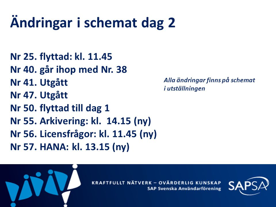 Ändringar i schemat dag 2 Nr 25. flyttad: kl. 11.45 Nr 40. går ihop med Nr. 38 Nr 41. Utgått Nr 47. Utgått Nr 50. flyttad till dag 1 Nr 55. Arkivering