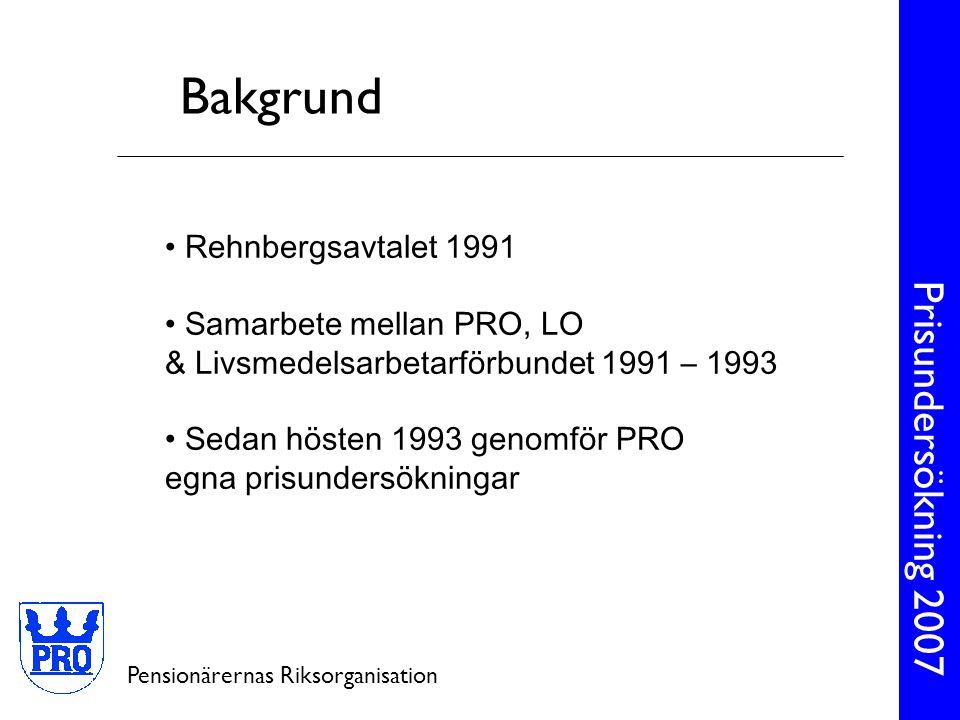Prisundersökning 2007 Pensionärernas Riksorganisation • Rehnbergsavtalet 1991 • Samarbete mellan PRO, LO & Livsmedelsarbetarförbundet 1991 – 1993 • Sedan hösten 1993 genomför PRO egna prisundersökningar Bakgrund