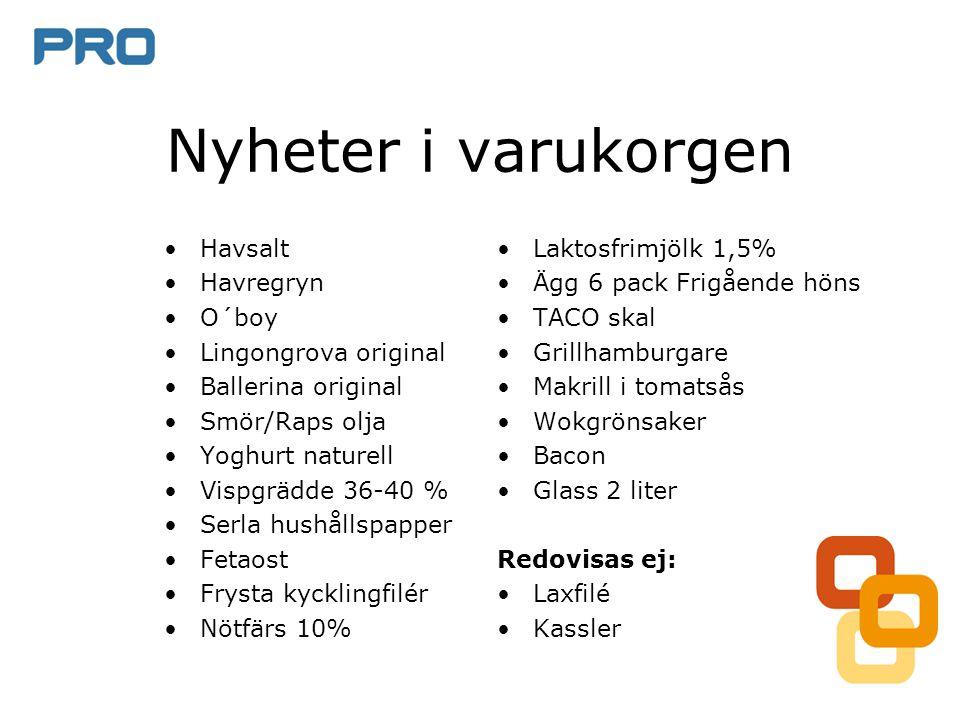 Nyheter i varukorgen •Laktosfrimjölk 1,5% •Ägg 6 pack Frigående höns •TACO skal •Grillhamburgare •Makrill i tomatsås •Wokgrönsaker •Bacon •Glass 2 lit