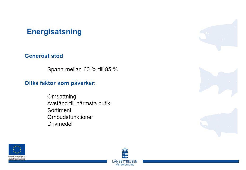 Energisatsning Generöst stöd Spann mellan 60 % till 85 % Olika faktor som påverkar: Omsättning Avstånd till närmsta butik Sortiment Ombudsfunktioner Drivmedel