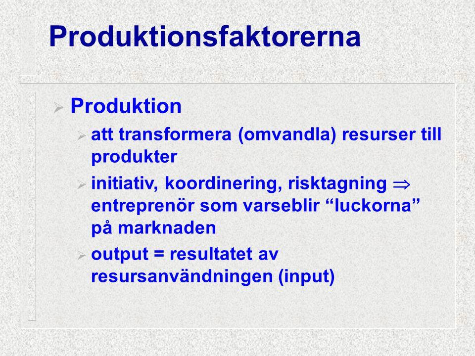 """ Produktion  att transformera (omvandla) resurser till produkter  initiativ, koordinering, risktagning  entreprenör som varseblir """"luckorna"""" på ma"""