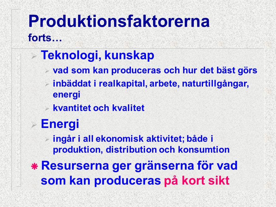  Teknologi, kunskap  vad som kan produceras och hur det bäst görs  inbäddat i realkapital, arbete, naturtillgångar, energi  kvantitet och kvalitet
