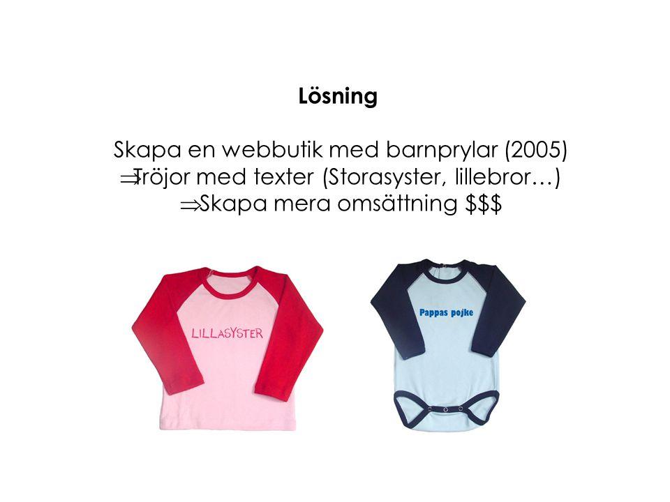 Lösning Skapa en webbutik med barnprylar (2005)  Tröjor med texter (Storasyster, lillebror…)  Skapa mera omsättning $$$
