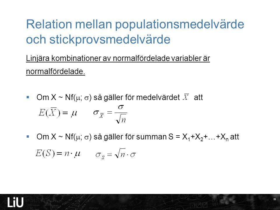 Relation mellan populationsmedelvärde och stickprovsmedelvärde Linjära kombinationer av normalfördelade variabler är normalfördelade.  Om X ~ Nf(  ;