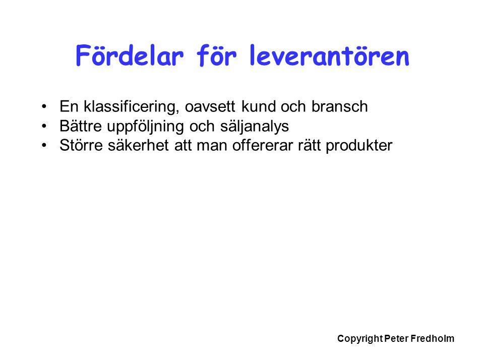 Copyright Peter Fredholm •En klassificering, oavsett kund och bransch •Bättre uppföljning och säljanalys •Större säkerhet att man offererar rätt produ