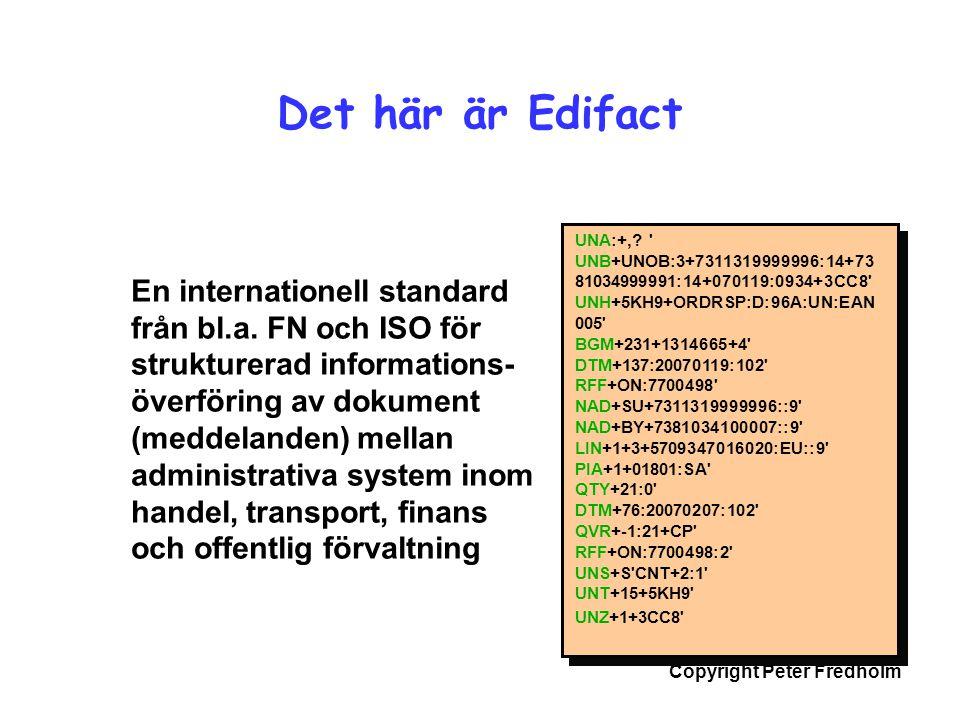 Copyright Peter Fredholm Det här är Edifact En internationell standard från bl.a. FN och ISO för strukturerad informations- överföring av dokument (me