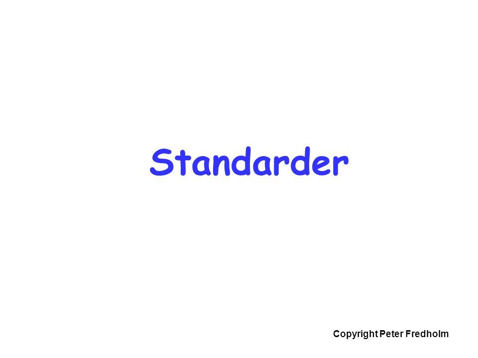Copyright Peter Fredholm  ISO: Massor av standarder, massor av områden  IETF: Internet, själva nätet, t.ex TCP/IP, SSL, SMTP  W3C: Webben, t.ex.