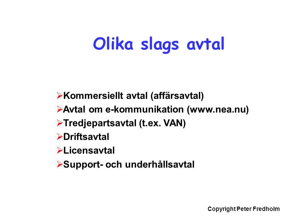 Copyright Peter Fredholm Olika slags avtal  Kommersiellt avtal (affärsavtal)  Avtal om e-kommunikation (www.nea.nu)  Tredjepartsavtal (t.ex. VAN) 