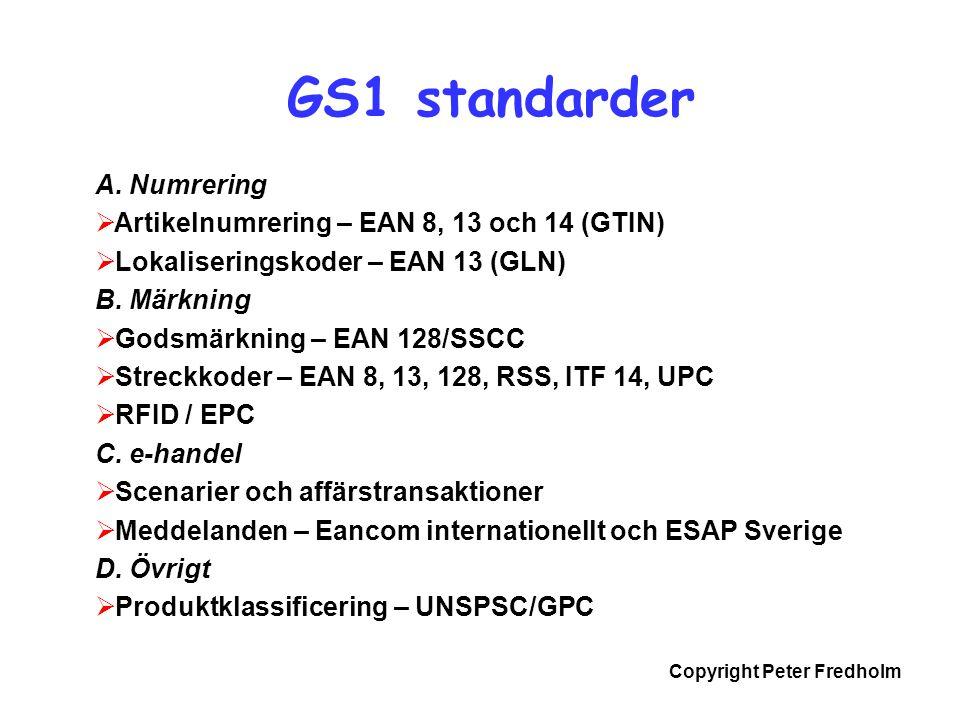Copyright Peter Fredholm En enkel order...
