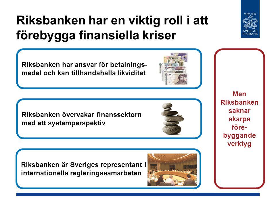 Riksbanken har en viktig roll i att förebygga finansiella kriser Riksbanken har ansvar för betalnings- medel och kan tillhandahålla likviditet Riksbanken övervakar finanssektorn med ett systemperspektiv Riksbanken är Sveriges representant i internationella regleringssamarbeten Men Riksbanken saknar skarpa före- byggande verktyg