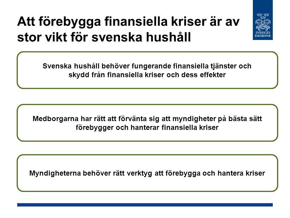 Att förebygga finansiella kriser är av stor vikt för svenska hushåll Svenska hushåll behöver fungerande finansiella tjänster och skydd från finansiella kriser och dess effekter Medborgarna har rätt att förvänta sig att myndigheter på bästa sätt förebygger och hanterar finansiella kriser Myndigheterna behöver rätt verktyg att förebygga och hantera kriser