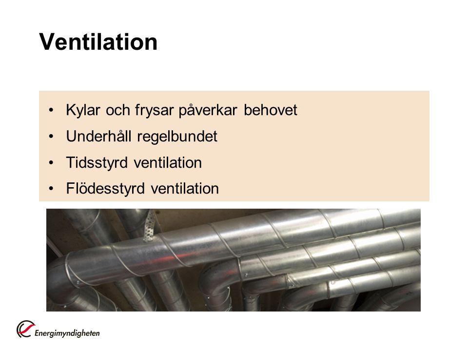 Ventilation •Kylar och frysar påverkar behovet •Underhåll regelbundet •Tidsstyrd ventilation •Flödesstyrd ventilation