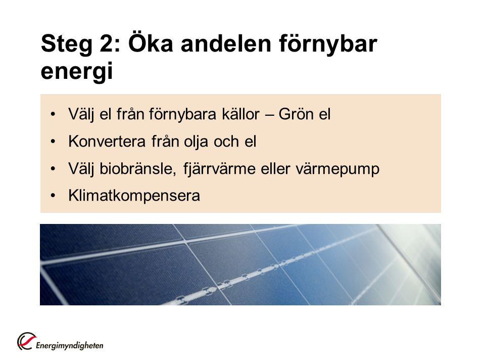 Steg 2: Öka andelen förnybar energi •Välj el från förnybara källor – Grön el •Konvertera från olja och el •Välj biobränsle, fjärrvärme eller värmepump •Klimatkompensera