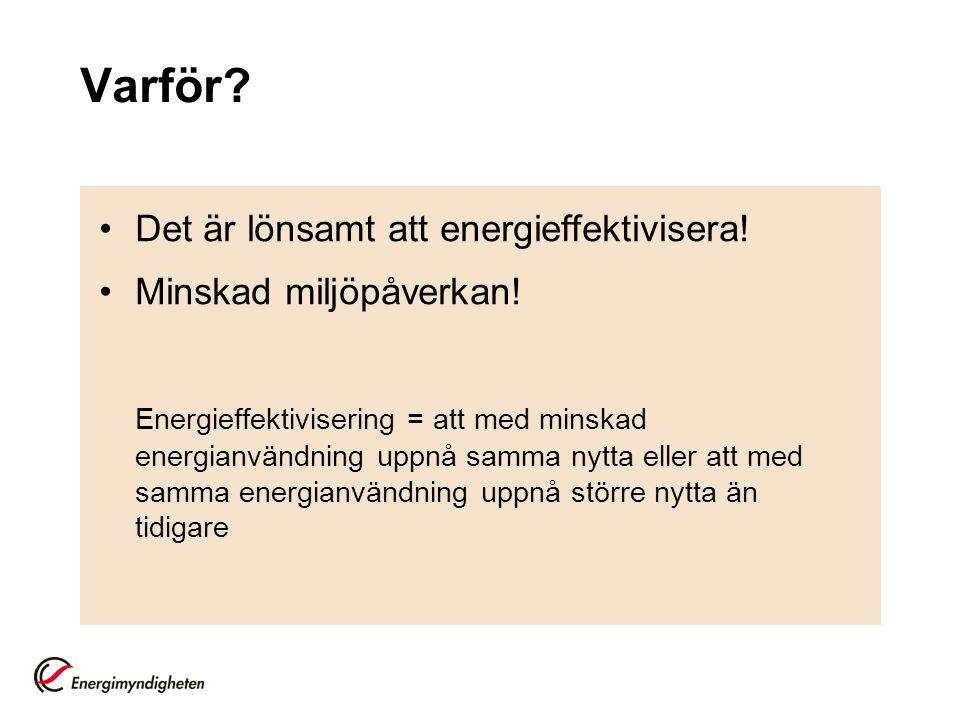 Varför.•Det är lönsamt att energieffektivisera. •Minskad miljöpåverkan.