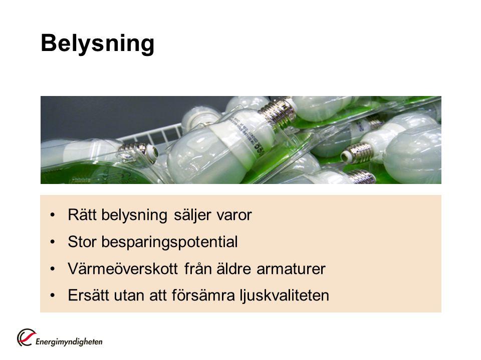 Belysning •Rätt belysning säljer varor •Stor besparingspotential •Värmeöverskott från äldre armaturer •Ersätt utan att försämra ljuskvaliteten