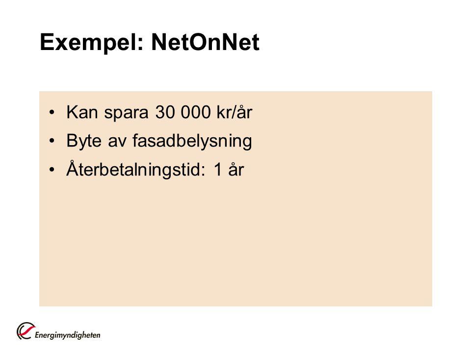 Exempel: NetOnNet •Kan spara 30 000 kr/år •Byte av fasadbelysning •Återbetalningstid: 1 år