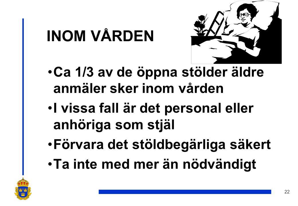 22 INOM VÅRDEN •Ca 1/3 av de öppna stölder äldre anmäler sker inom vården •I vissa fall är det personal eller anhöriga som stjäl •Förvara det stöldbegärliga säkert •Ta inte med mer än nödvändigt