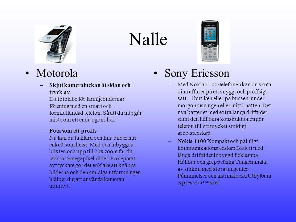 Nalle •Motorola –Skjut kameraluckan åt sidan och tryck av Ett fotolabb för familjebilderna i förening med en smart och formfulländad telefon.
