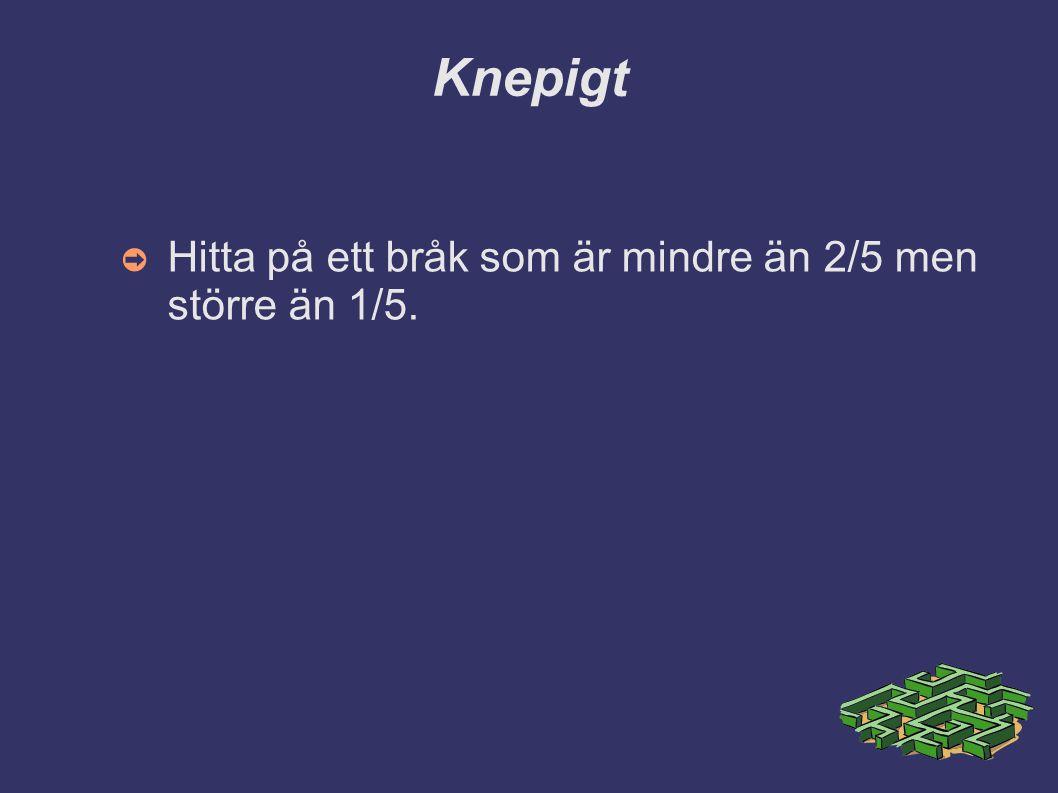 Knepigt ➲ Hitta på ett bråk som är mindre än 2/5 men större än 1/5.