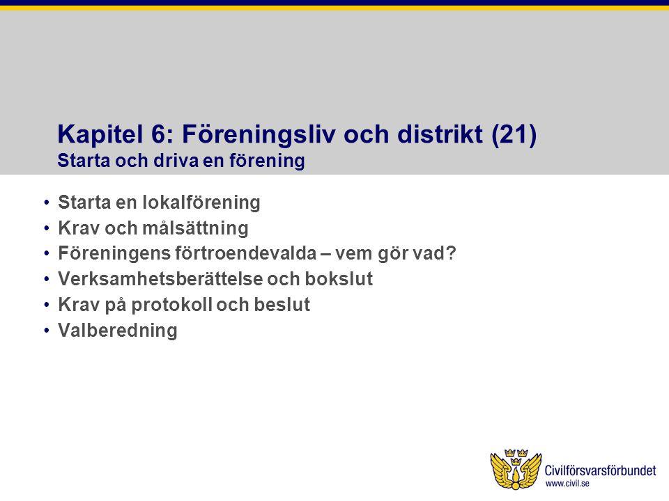 Kapitel 6: Föreningsliv och distrikt (21) Starta och driva en förening •Starta en lokalförening •Krav och målsättning •Föreningens förtroendevalda – vem gör vad.