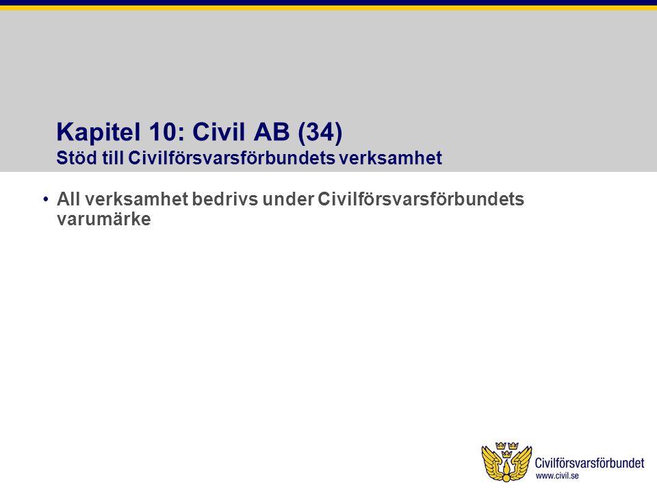 Kapitel 10: Civil AB (34) Stöd till Civilförsvarsförbundets verksamhet •All verksamhet bedrivs under Civilförsvarsförbundets varumärke