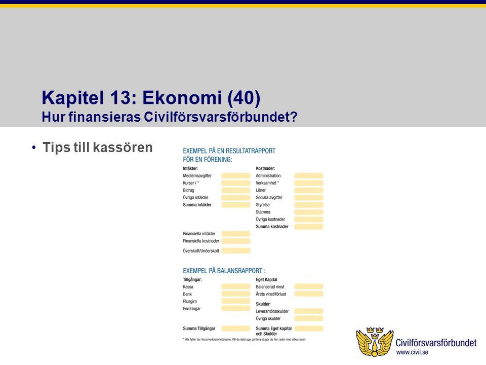 Kapitel 13: Ekonomi (40) Hur finansieras Civilförsvarsförbundet? •Tips till kassören