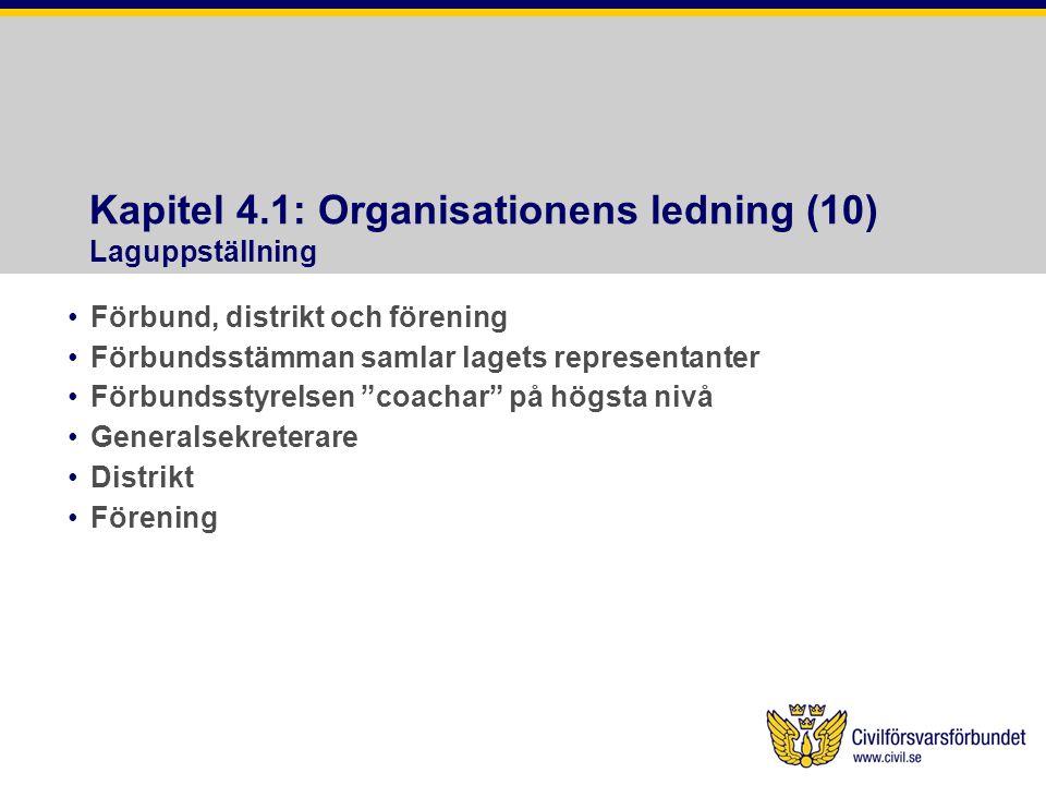 Kapitel 4.1: Organisationens ledning (10) Laguppställning •Förbund, distrikt och förening •Förbundsstämman samlar lagets representanter •Förbundsstyrelsen coachar på högsta nivå •Generalsekreterare •Distrikt •Förening