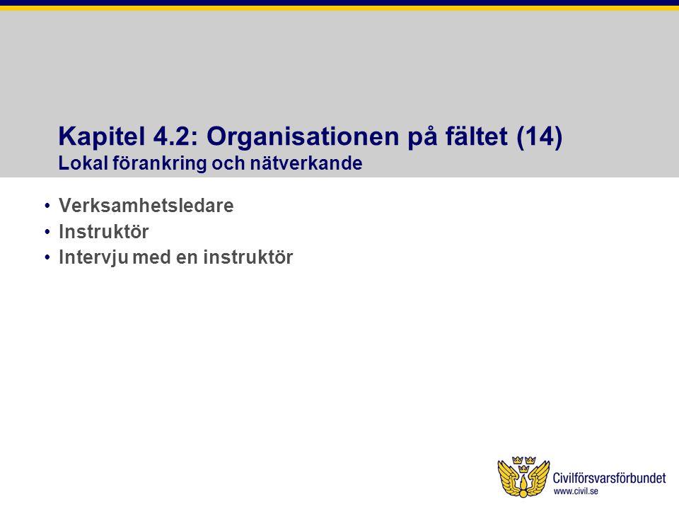 Kapitel 4.2: Organisationen på fältet (14) Lokal förankring och nätverkande •Verksamhetsledare •Instruktör •Intervju med en instruktör