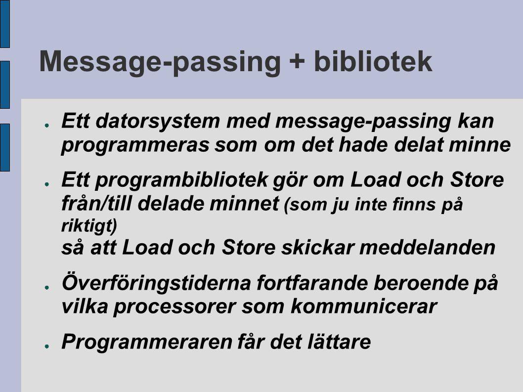 Message-passing + bibliotek ● Ett datorsystem med message-passing kan programmeras som om det hade delat minne ● Ett programbibliotek gör om Load och