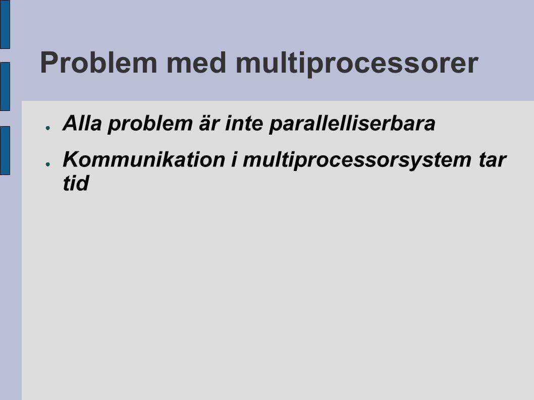 Problem med multiprocessorer ● Alla problem är inte parallelliserbara ● Kommunikation i multiprocessorsystem tar tid