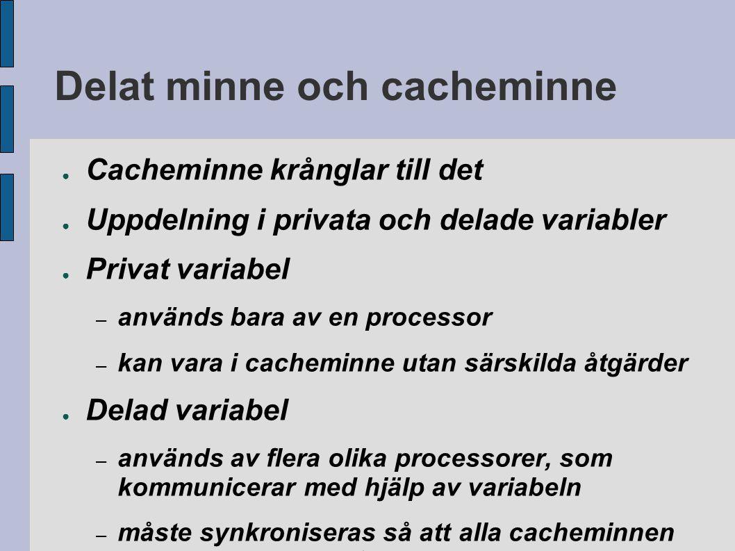 Delat minne och cacheminne ● Cacheminne krånglar till det ● Uppdelning i privata och delade variabler ● Privat variabel – används bara av en processor