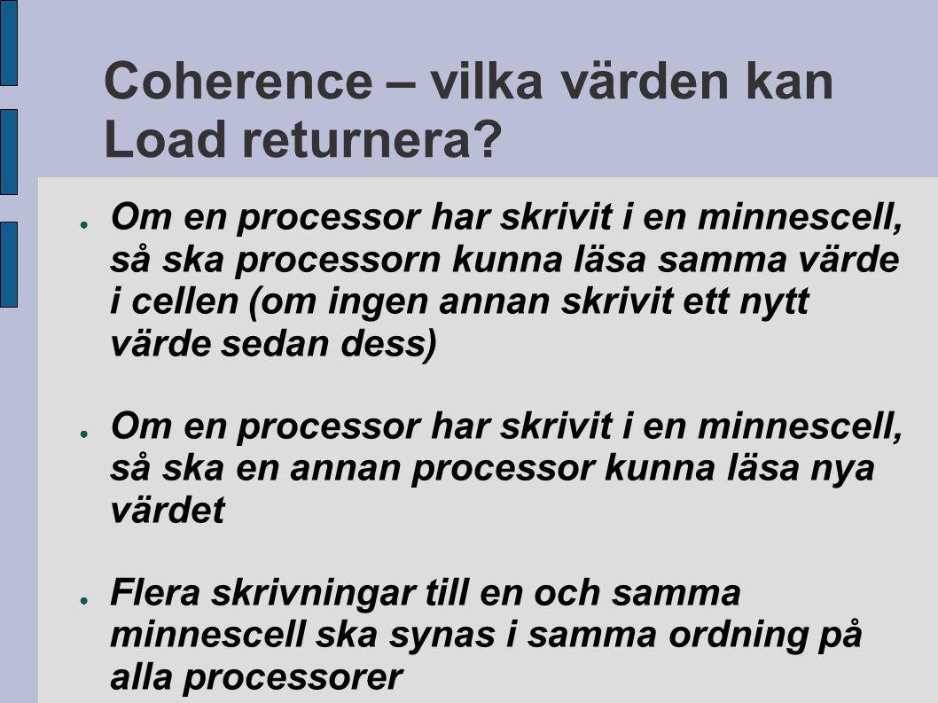 Coherence – vilka värden kan Load returnera? ● Om en processor har skrivit i en minnescell, så ska processorn kunna läsa samma värde i cellen (om inge