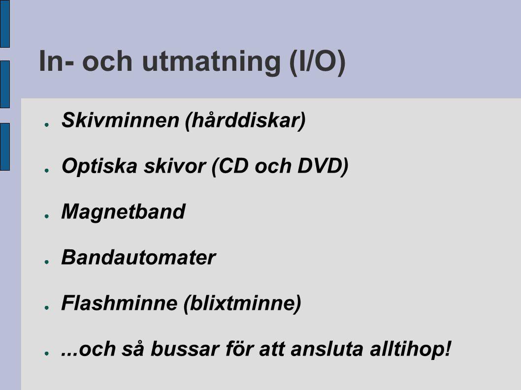In- och utmatning (I/O) ● Skivminnen (hårddiskar) ● Optiska skivor (CD och DVD) ● Magnetband ● Bandautomater ● Flashminne (blixtminne) ●...och så buss