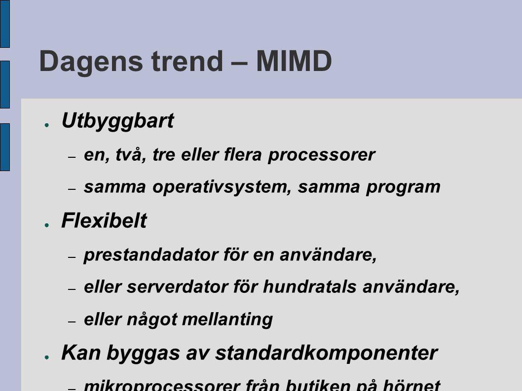 Dagens trend – MIMD ● Utbyggbart – en, två, tre eller flera processorer – samma operativsystem, samma program ● Flexibelt – prestandadator för en anvä