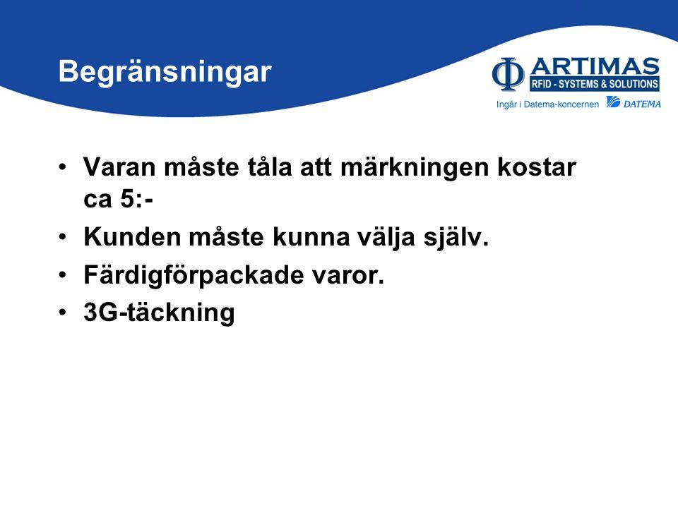 Begränsningar •Varan måste tåla att märkningen kostar ca 5:- •Kunden måste kunna välja själv. •Färdigförpackade varor. •3G-täckning