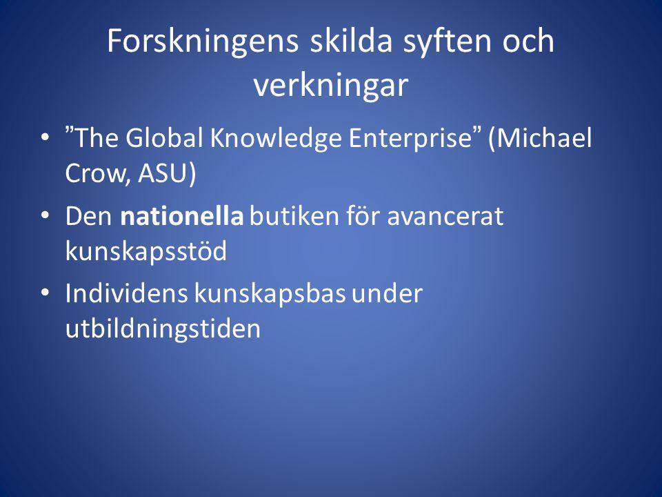 Forskningens skilda syften och verkningar • The Global Knowledge Enterprise (Michael Crow, ASU) • Den nationella butiken för avancerat kunskapsstöd • Individens kunskapsbas under utbildningstiden