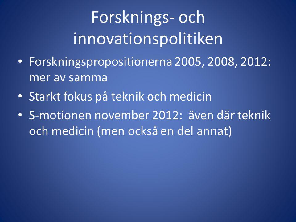 Forsknings- och innovationspolitiken • Forskningspropositionerna 2005, 2008, 2012: mer av samma • Starkt fokus på teknik och medicin • S-motionen november 2012: även där teknik och medicin (men också en del annat)
