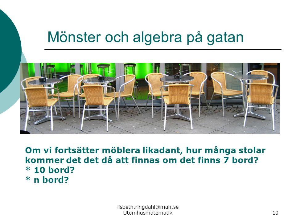 lisbeth.ringdahl@mah.se Utomhusmatematik10 Mönster och algebra på gatan Om vi fortsätter möblera likadant, hur många stolar kommer det det då att finn