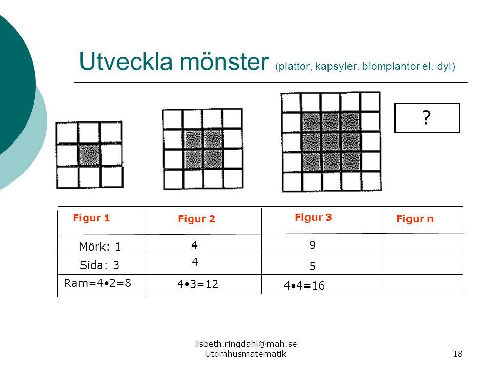 lisbeth.ringdahl@mah.se Utomhusmatematik18 Utveckla mönster (plattor, kapsyler. blomplantor el. dyl) ? Figur 1 Figur 2 Figur 3 Figur n Mörk: 1 49 Sida