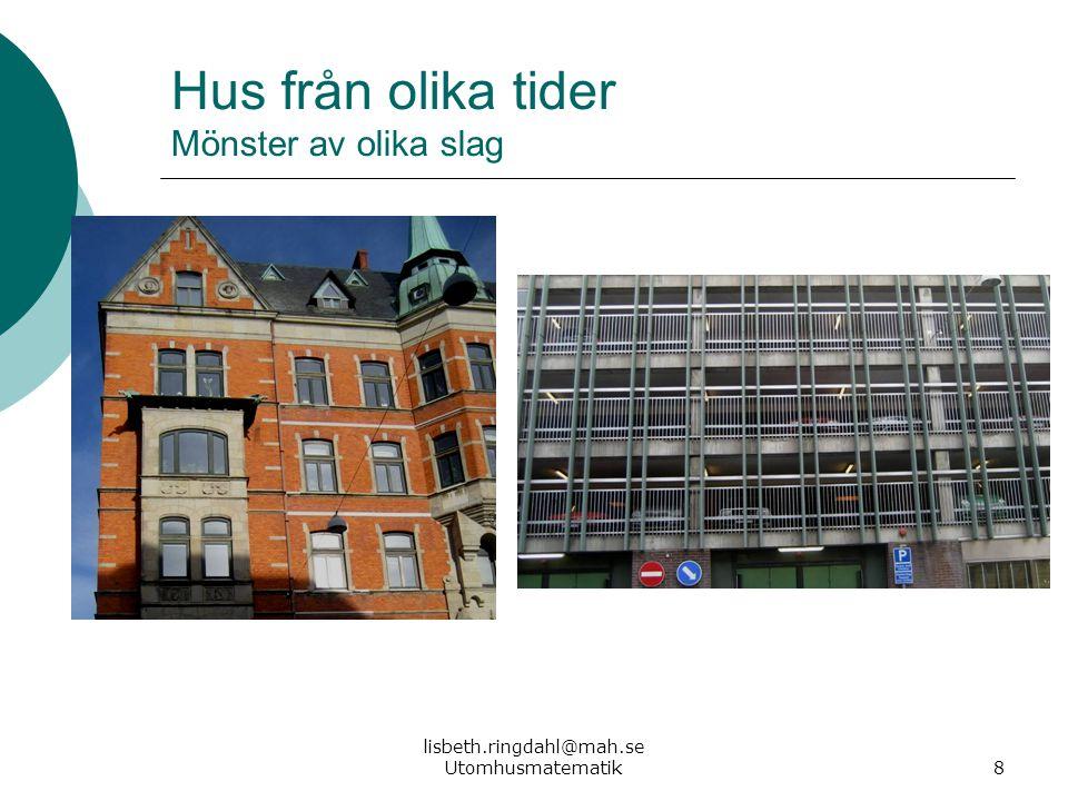 lisbeth.ringdahl@mah.se Utomhusmatematik8 Hus från olika tider Mönster av olika slag