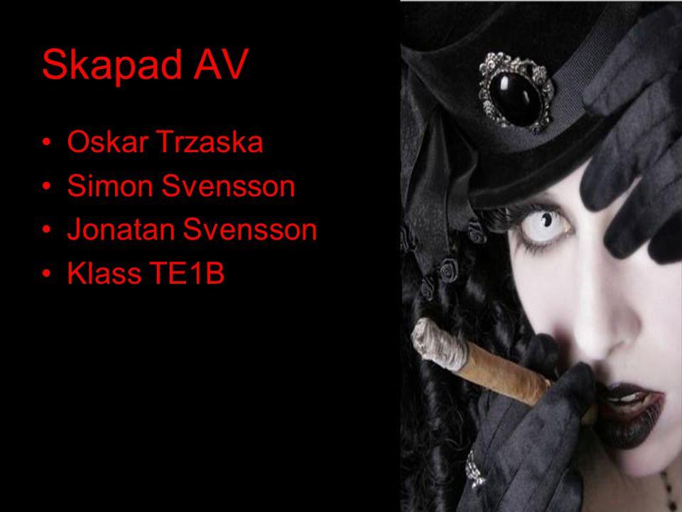 Skapad AV •Oskar Trzaska •Simon Svensson •Jonatan Svensson •Klass TE1B