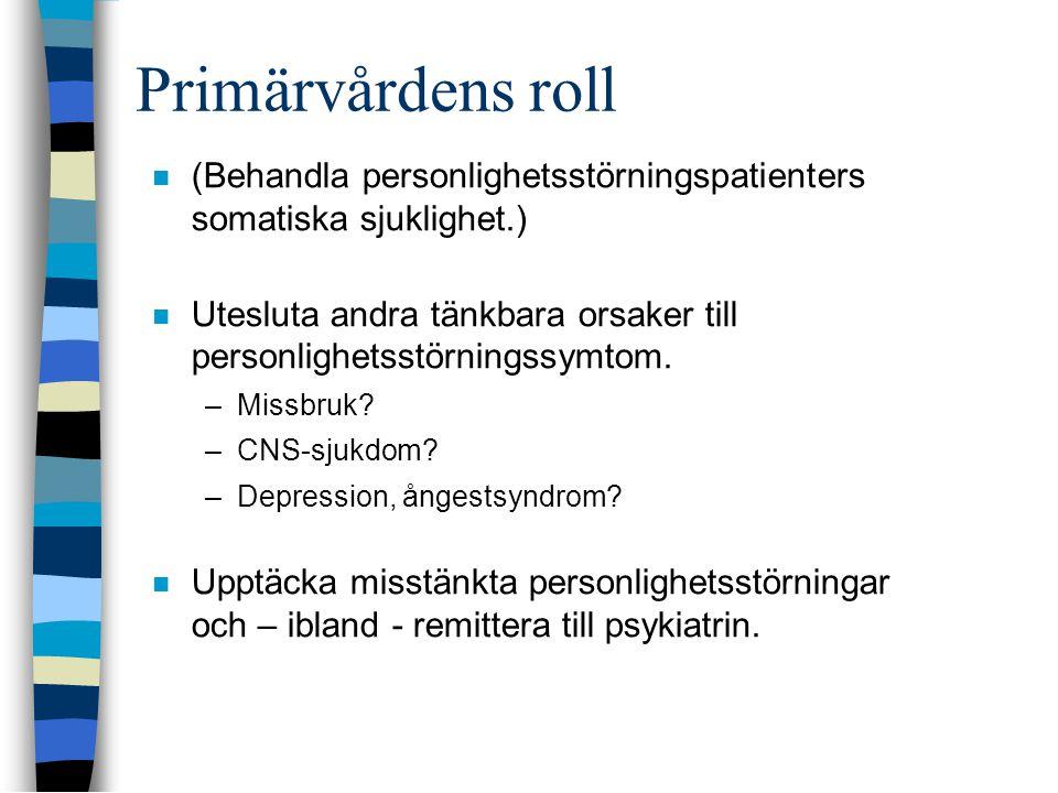 Primärvårdens roll  (Behandla personlighetsstörningspatienters somatiska sjuklighet.)  Utesluta andra tänkbara orsaker till personlighetsstörningssy