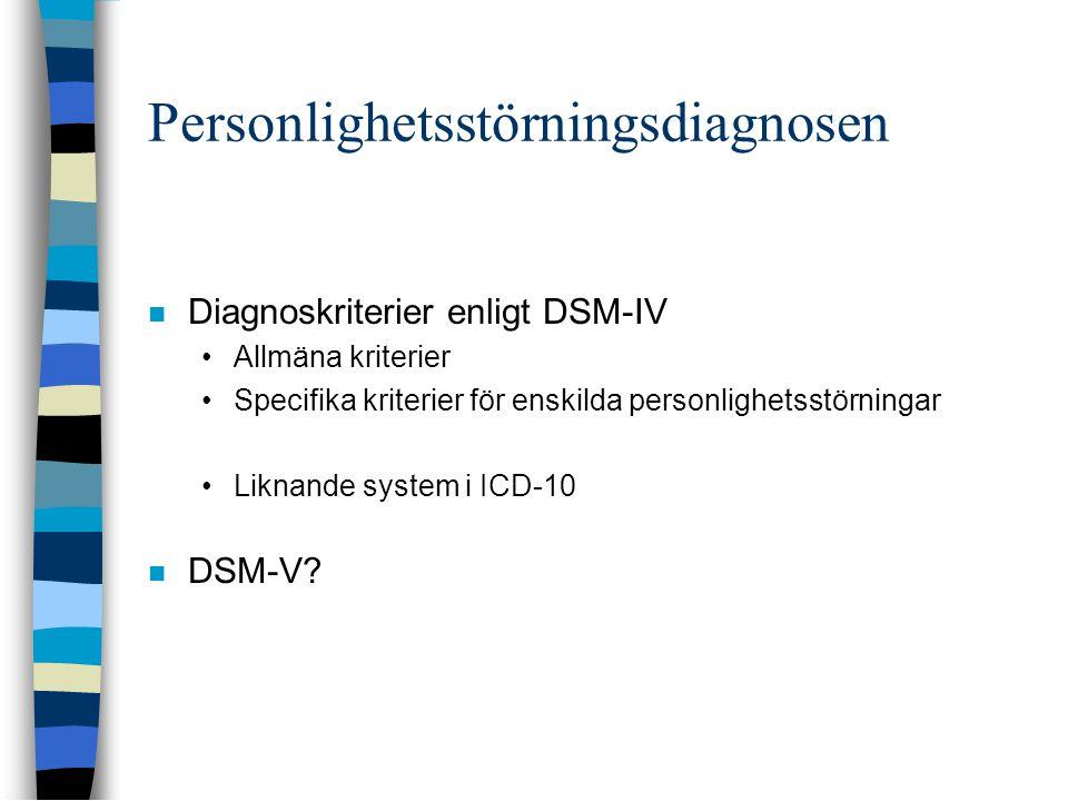 Personlighetsstörningsdiagnosen  Diagnoskriterier enligt DSM-IV •Allmäna kriterier •Specifika kriterier för enskilda personlighetsstörningar •Liknand