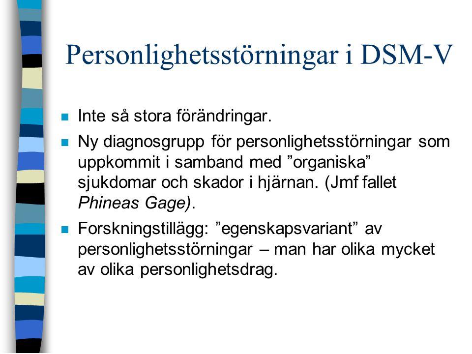"""Personlighetsstörningar i DSM-V  Inte så stora förändringar.  Ny diagnosgrupp för personlighetsstörningar som uppkommit i samband med """"organiska"""" sj"""