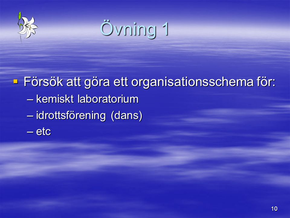 10 Övning 1  Försök att göra ett organisationsschema för: –kemiskt laboratorium –idrottsförening (dans) –etc