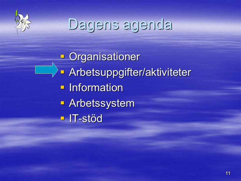 11 Dagens agenda  Organisationer  Arbetsuppgifter/aktiviteter  Information  Arbetssystem  IT-stöd