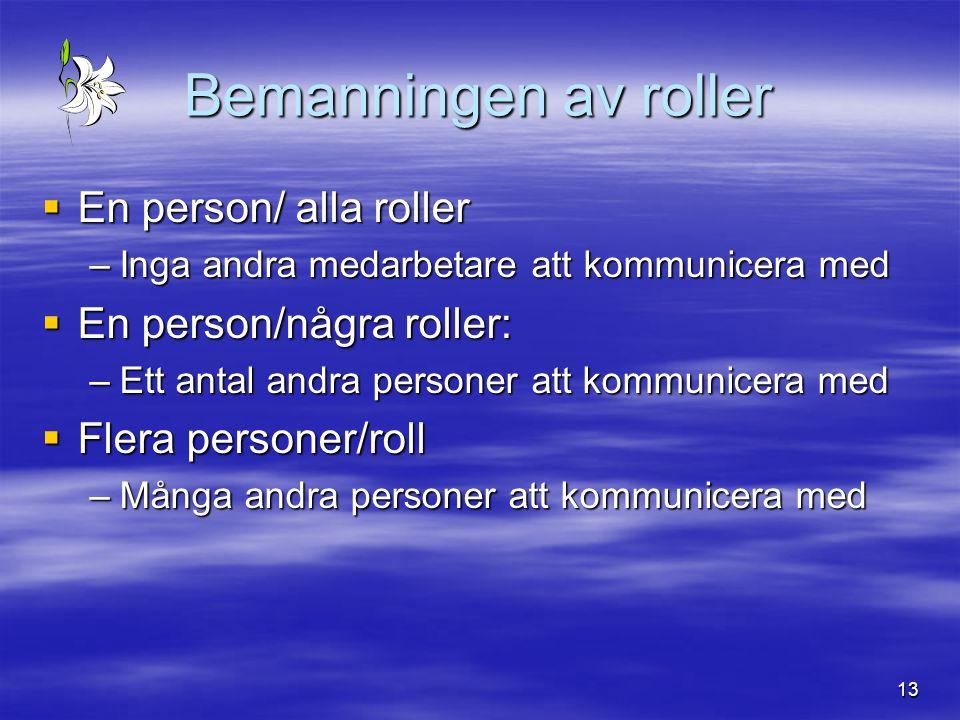 13 Bemanningen av roller  En person/ alla roller –Inga andra medarbetare att kommunicera med  En person/några roller: –Ett antal andra personer att