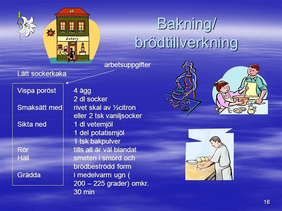 16 Bakning/ brödtillverkning Lätt sockerkaka Vispa poröst4 ägg 2 dl socker Smaksätt medrivet skal av ½citron eller 2 tsk vaniljsocker Sikta ned1 dl ve