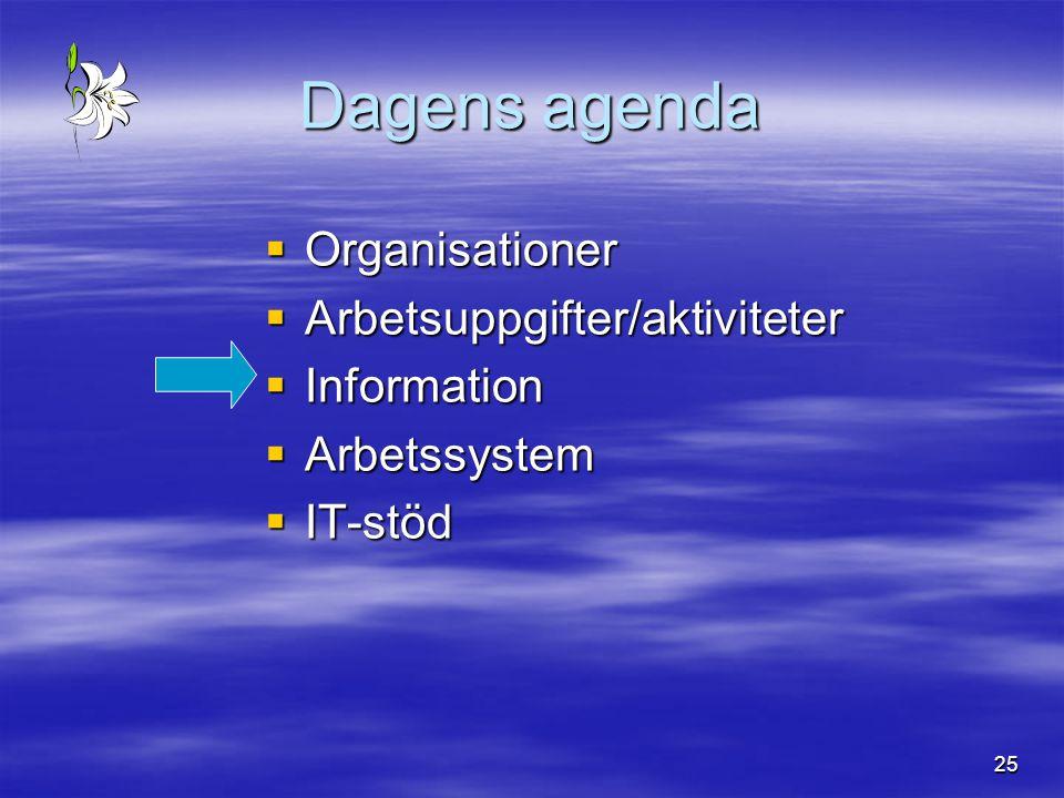 25 Dagens agenda  Organisationer  Arbetsuppgifter/aktiviteter  Information  Arbetssystem  IT-stöd